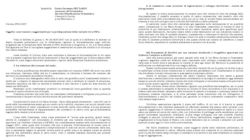 lettera al comune- variante 41 gorizia